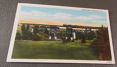 Old Postcard  CLAREMONT, NEW HAMPSHIRE   { THE HIGH RAILROAD BRIDGE}