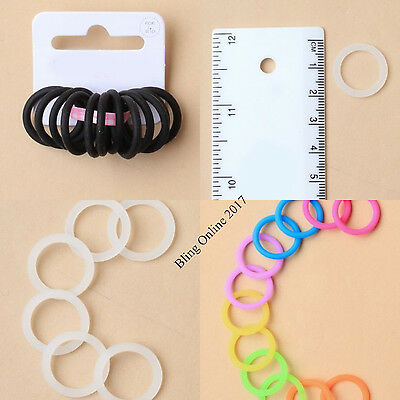 12pc SMALL 2cm SILICONE NON SLIP HAIR BANDS ELASTIC RUBBER BLACK BRIGHT OR CLEAR