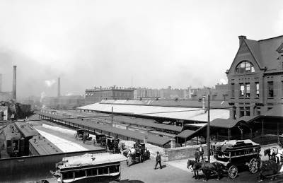 """1880-99 Chicago & NW Station, Chicago Vintage Photograph  11"""" x 17"""" Repro"""