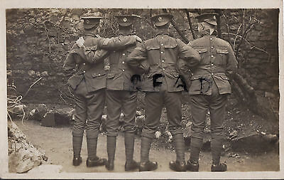 WW1 soldier group Royal Engineers in comic pose uniforms back to front Carnarvon