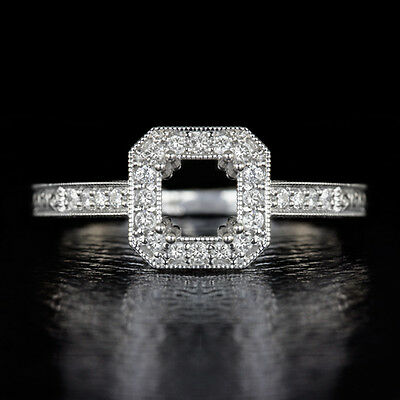 Semi-Mount Round Princess Setting Diamond Vintage Ring Asscher Cushion Radiant