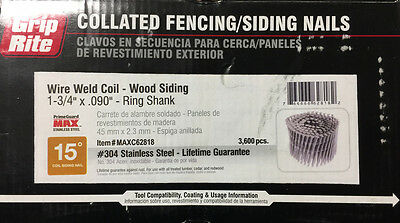 """1-3/4"""" x .090 Coil Nails Ring Shank Stainless Steel (304) Wood Siding Nails (360"""