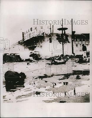 1937 Press Photo Exploded bombs leave streets of Shanghai China in ruins