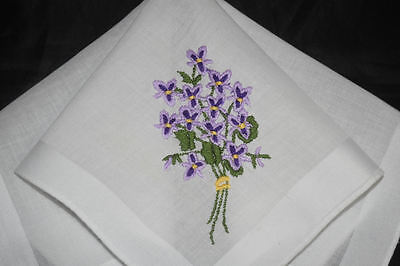 vintage handkerchief EMBROIDERY violet bouquet LOVELY HANKY woven stripe CHARMER