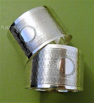 Pair Vintage 1943 Solid Sterling Silver Engine Turned Unengraved Napkin Rings