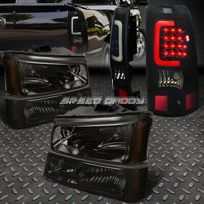 Smoked Headlight+Bumper+Black Tinted 3D Led Bar Tail Light For 03-07 Silverado