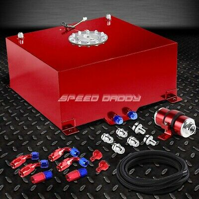 15 Gallon/57L Aluminum Fuel Cell Tank+Feed Line Kit+30 Micron Inline Filter Red