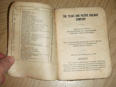 RARE 1939 T&P Texas Pacific Railway Locomotive Brotherhood Agreement Rule Book