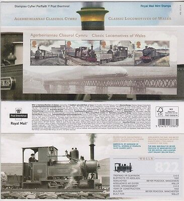 2014 UK  Classic Railway Locomotives of Wales Miniature Sheet Pres Pack  MNH