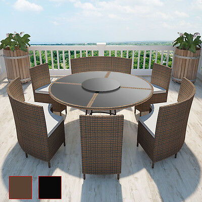poly rattan sitzgruppe essgruppe gartenset gartenm bel tisch rund 12 personen eur 589 99. Black Bedroom Furniture Sets. Home Design Ideas