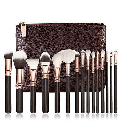 15 PCS Makeup Brushes Set Beauty Cosmetic Complete Eye Kit + Leather Case