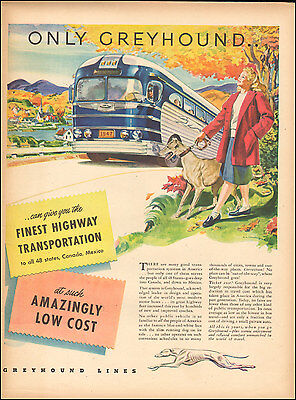 1947 Vintage ad for Greyhound Bus Lines`Bus Fall Scene Dog  (092516)