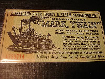Vintage Disneyland River Packet Mark Twain Steamboat Ticket