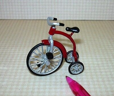 Miniature Metal Tricycle, RED for the DOLLHOUSE Child 1/12 Scale Miniatures