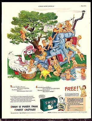 1943 SWAN SOAP AD Mother Swanny and Babies Live in a Shot Vintage Bathroom Decor