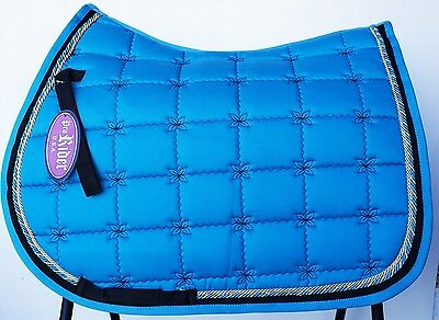 Horse Quilted ENGLISH SADDLE PAD Tack Trail Riding Contoured Turquoise 72F14