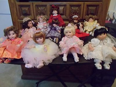 12 Marie Osmond Tiny Tots Rose Bud Dolls COA + Necklace Limited Ed Princess +