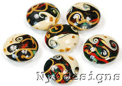Lampwork glass multi color swirl 18mm beads 6pcs (I17) for DIY Jewelry