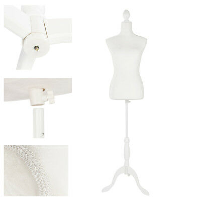 White Female Mannequin Torso Dress Form Display w/ Tripod Stand Standard Size