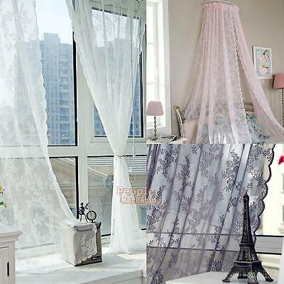 Door Window Curtain Lace Leaves Floral Voile Sheer Drape Panel Tulle Valances