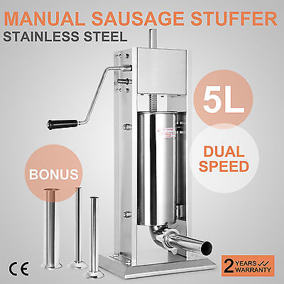 5L Sausage Stuffer Filler Meat Maker Machine Stainless Steel 12LB Dual Speed New