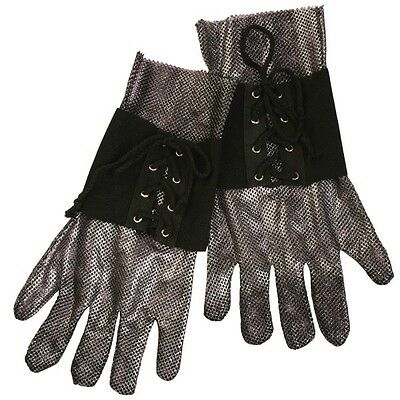 Adult Knight Medieval Chainmail Silver Mesh Armor Gloves