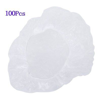 100pcs Disposable Shower Cap Clear Spa Shower Caps Hotel Bathing Elastic Caps