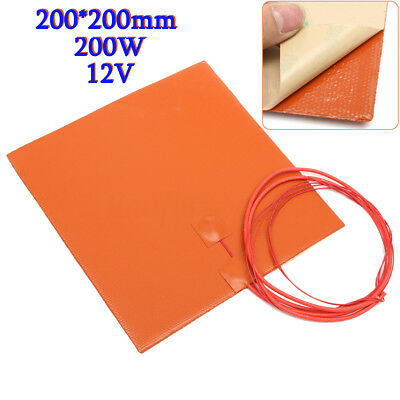 200W 12V 200mm Silicone Heater Pad For 3D Printer Heated Bed Heating Mat IP65