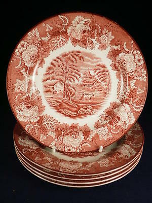 Woods Ware English Scenery Red & White Side Plates X 5