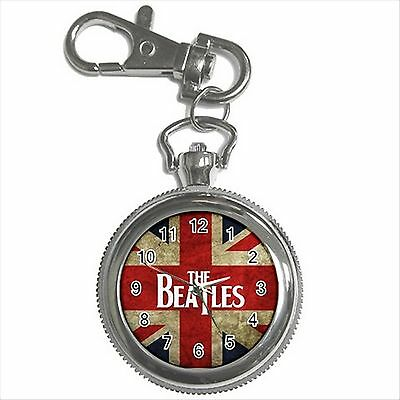 NEW* HOT THE BEATLES THE FAB FOUR Silver Tone Key Chain Ring Watch Gift