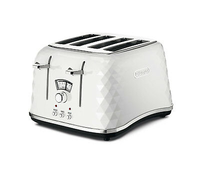 De'Longhi Delonghi Stylish Brilliante White 4 Slice Home Toaster With Crumb Tray
