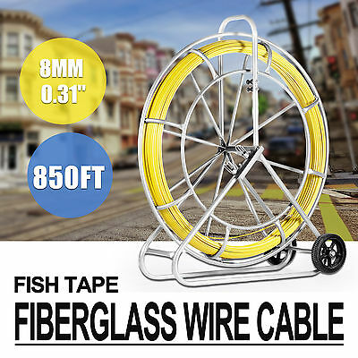 8MM x 850' FISH TAPE FIBERGLASS WIRE CABLE RODDER PUSH ROD DUCT RUNNING TUBE