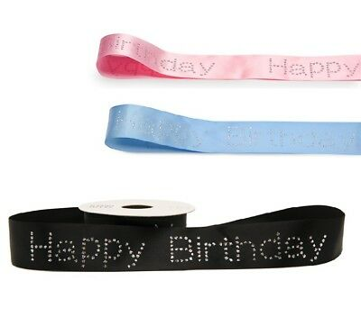 Diamante Happy Birthday Ribbon Sparkly Bling Cake Decoration Celebration Glitter