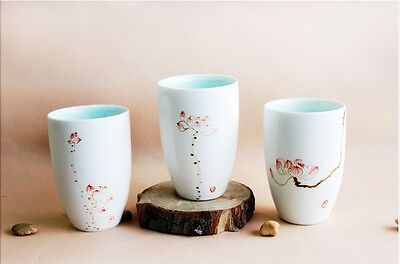 Simple Style White Handmade Pottery Hand-Painted Lotus Cup Home Decoration Set