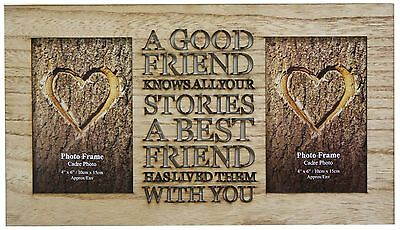 4 X 6 Rustic Double Worded Wooden Friend Photo Picture Frame