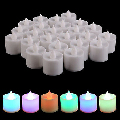 Set 24 Candele Led Smokeless Colorate a Batteria Luce Decorazione TeaLight moc