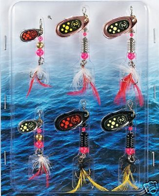 6 X Spinners,coarse,sea,fishing,mepps Lures,pike,zander Perch,trout Spinner Bait