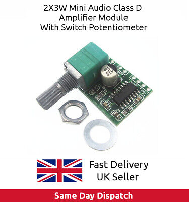PAM8403 5V Digital Amplifier Board 2 x 3 W Class D with Switch Potentiometer UK