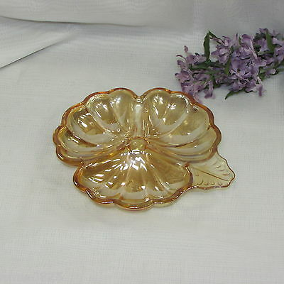 Vintage Marigold Carnival Depression Glass Three Part Candy Dish Clover Divided