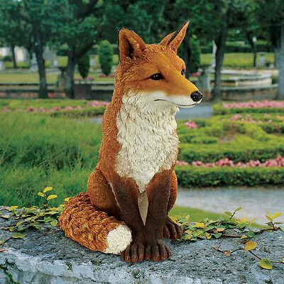 British Sly Fox Garden Statue Yard Decor Nature Red Fox