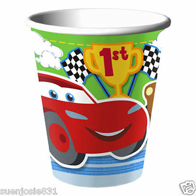 Disney Cars 1st Birthday 9oz Hot Cold Paper Cups 8pcs Party Supplies