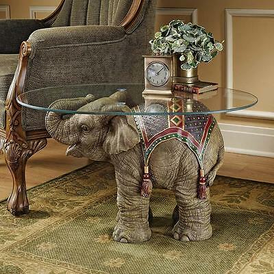 India Holi Festival Elephant Glass Topped Sculptural Accent Table Pachyderm