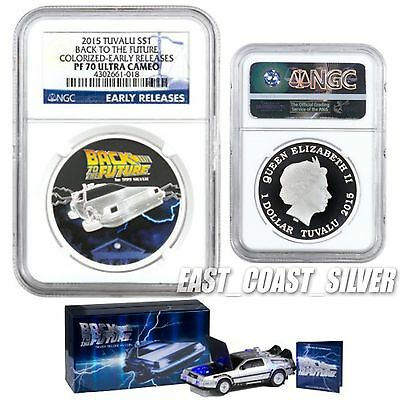 2015 NGC PF70 ER DeLorean tuvalu Colorized Proof Silver Back to the Future UC