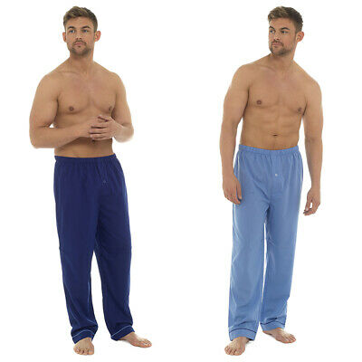 Mens Poly Cotton  Lounge Pants Pyjama Bottoms Plain Trousers