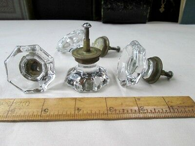 "3 Vintage Clear GLASS KNOBS,Pulls For Drawers,Doors,8-Sided,C.1870,1 3/4""Diam."