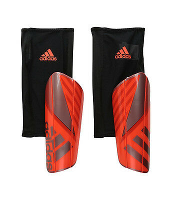 New Adidas Solar Red Ghost Pro Slip In Shield With Sleeve Soccer Shin Guards L