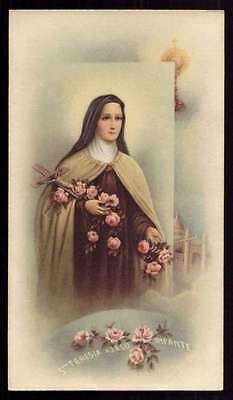 ST THERESE OF LISIEUX w/ CRUCIFIX & ROSES, HOLY MONSTRANCE Vtg 1961 HOLY CARD