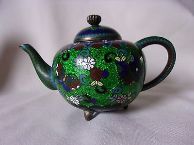 Vintage Miniature Asian Cloisonne Footed Butterfly Teapot