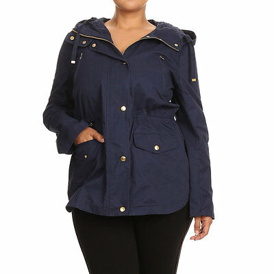 Women's Navy Blue Cotton Plus-size Rain Utility Jacket