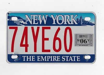 🌟🌟🎼🎶 🌟🌟 Authentic  Usa 2006 New York Motorcycle Size License Plate.